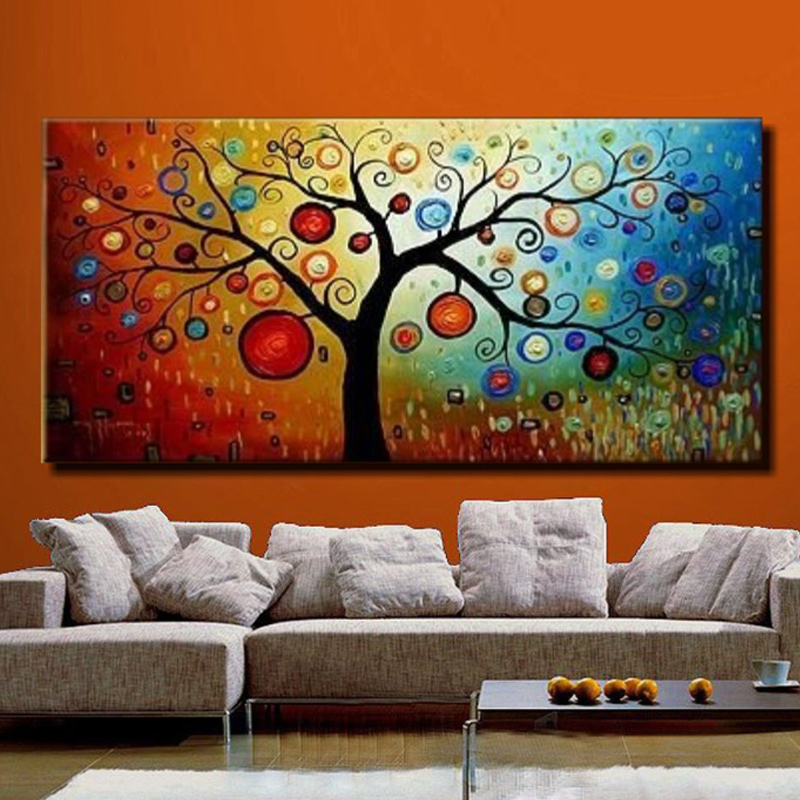Hand Painted Modern Abstract Life Tree Oil Painting On Canvas 1 Panel Art Set Home Wall