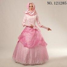 Luxury Appliques Pink Muslim Wedding Dress with Hijab Long Sleeves High Neck Overskirt Princess Bridal Gowns vestido de noiva