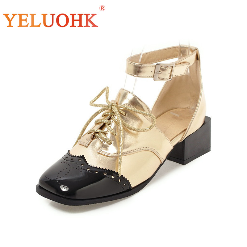 34-43 Lolita Shoes Women Heels Patent Leather Women Shoes Heel Big Size Women Pumps 4.5 CM юбка strawberry witch lolita sk