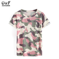 Dotfashion Woman Tops Camouflage Summer Style 2016 New Arrival Casual Tees Crew Neck Print Rolled Short
