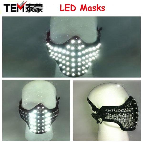 Free shipping LED Glowing <font><b>Light</b></font> Masks Hero <font><b>Face</b></font> Guard PVC Masquerade Party Halloween Birthday LED Masks
