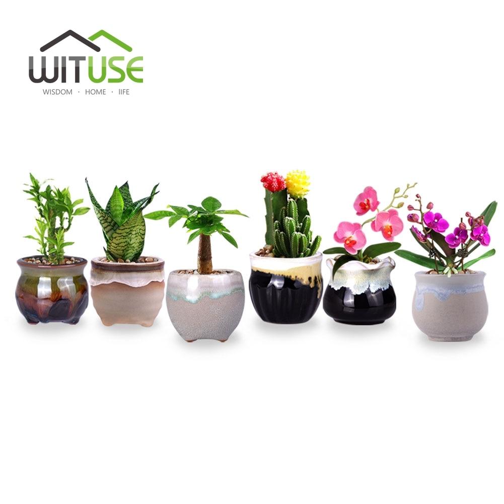 WITUSE Mini Lovely Flower Pots for Fleshy Succulent Plant Flowing Glazed Ceramic 6 Types Planter Pots Home Garden Office Decor