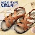2015 TIPO De Corea del verano nuevos de cuero personalizada hombres sandalias sandalias masculinas sandalias de gladiador zapatos de cuero de los hombres, EU38-44