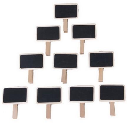 10Pcs Mini Clip On Blackboard  Words Message Blackboard Decor Wooden Chalkboard Shaped Clip For Wedding Party