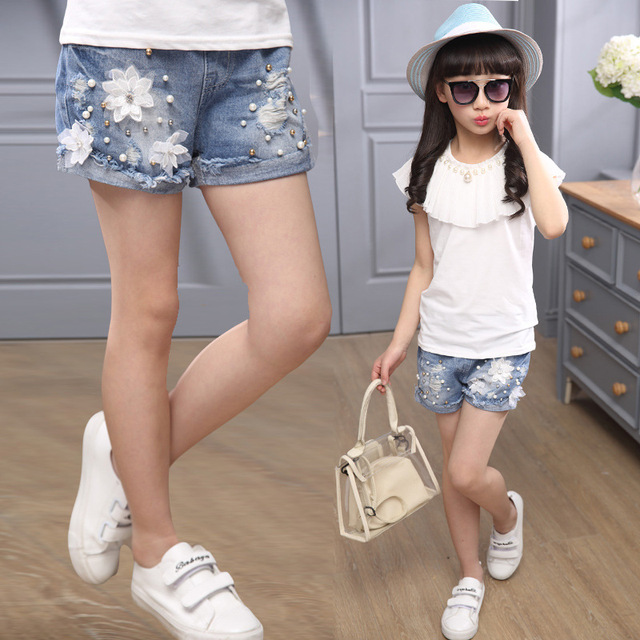 d84e7a72957 Hot Sale Beautiful Ripped Jeans Shorts for Girls Summer New 2019 Teenage  Denim Ruffle Pants Casual Kids Girl Short Jeans Pants