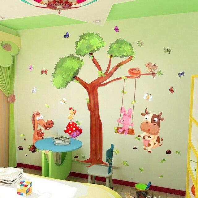 Large cartoon children\'s room wall stickers tree nursery classrooms ...