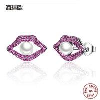 NEW Real 925 Sterling Silver Sexy Bocca Labbra Rosse Orecchini Con Perla Delle Coperture Per Le Donne Compatibile con pan gioielli