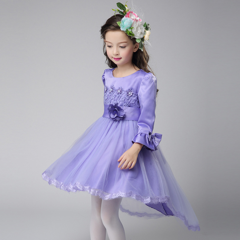 Autumn Toddler New Arrival Lace Bowknot Decor Hot Sale Princess Christening Show Stage Wedding Formal Flare Sleeve Formal Dress new arrival hot sale toddler princess girls sleeveless ball gown costume latin show fashion formal dancing dress