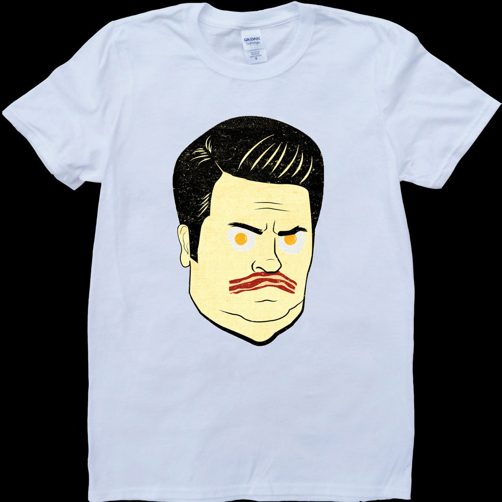 Ron Swanson Parks and Recreation Eggs White, Custom Made T-Shirt