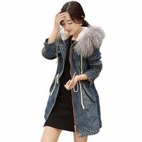Women Winter Denim Jacket 2017 New Fashion Lambwool Thicken Big Fur Collar Patchwork Warm Over Coat Female Parka QW712