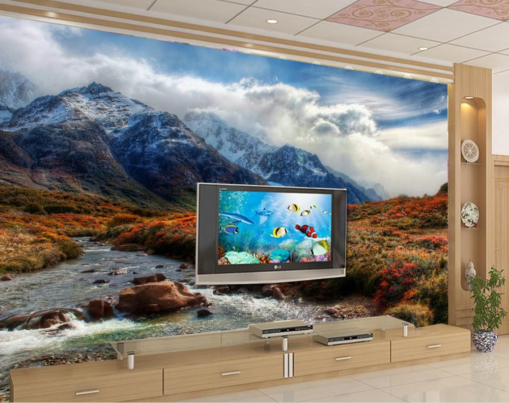 3d stereoscopic Custom 3d wall mural wallpaper Mountain stream of water blue sky and white clouds chinese wallpaper streams of stream classifications