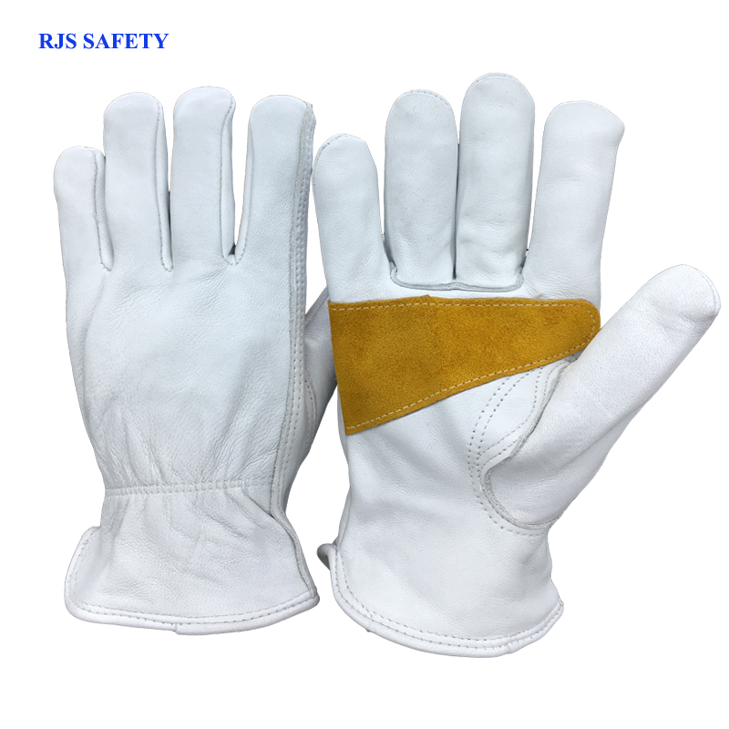 RJS SAFETY Mens Work Gloves Sheepskin Leather Gloves Security Protection Safety Workers  ...