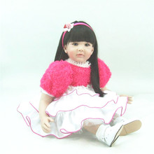 22 inch 55 cm baby reborn Silicone  dolls, lifelike doll reborn babies toys Beautiful girls holiday gift
