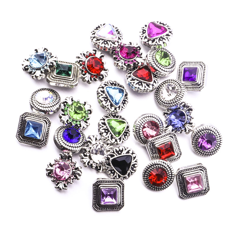 Mixed styles Rhinestone 12mm Snap Buttons For Snap Button Necklace Bracelet Jewelry Accessories image
