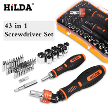цена на HILDA 43 in 1 Screwdriver Set Phillips/Slotted Bits With Magnetic Multi Tool Home Appliances Repair Hand Tools Kit Hand Tool Set