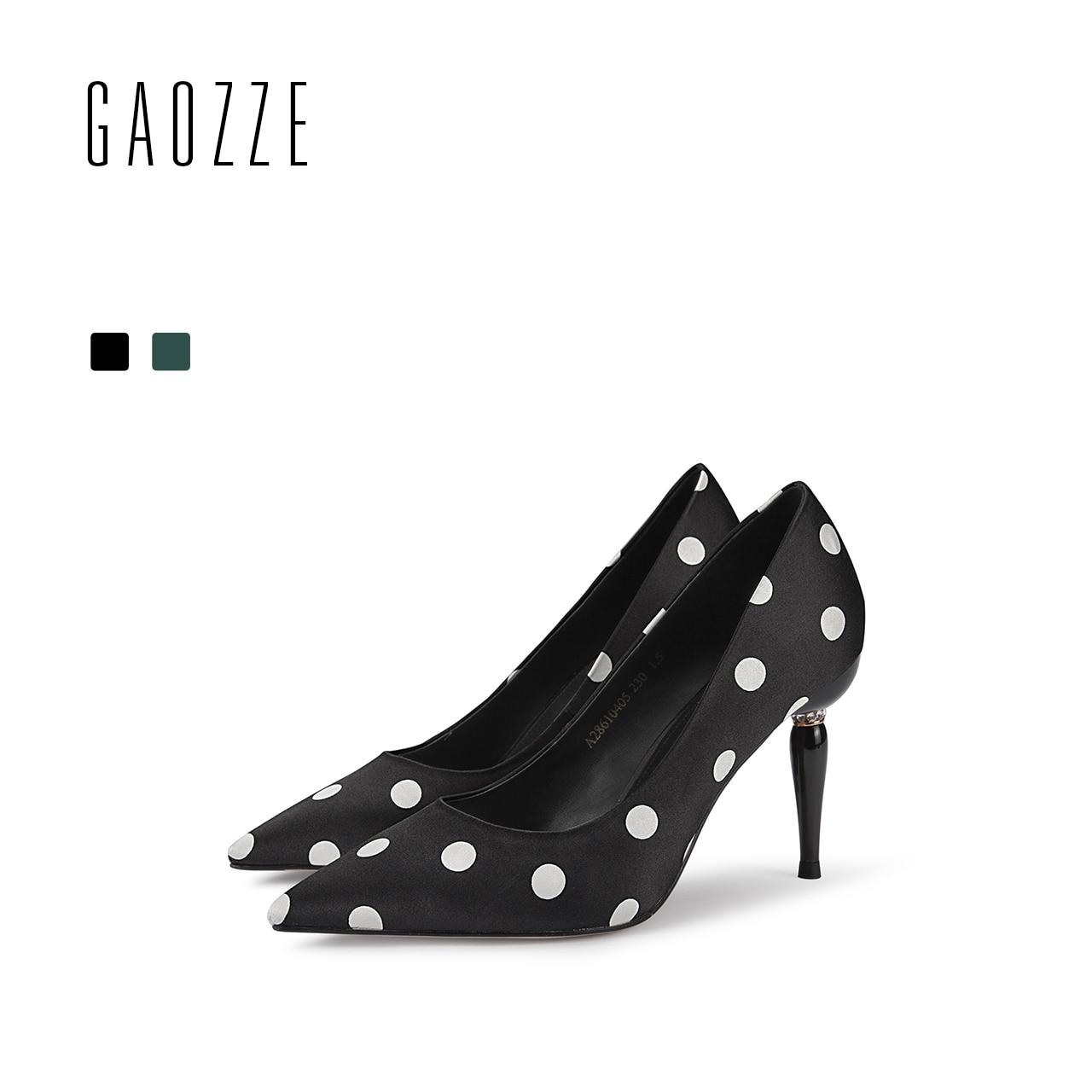 Gaozze 2018 Весна Новая мода в горошек шелковая ткань Насосы Для женщин Банкетный Обувь острый носок социальных вечерние туфли лодочки на высоко