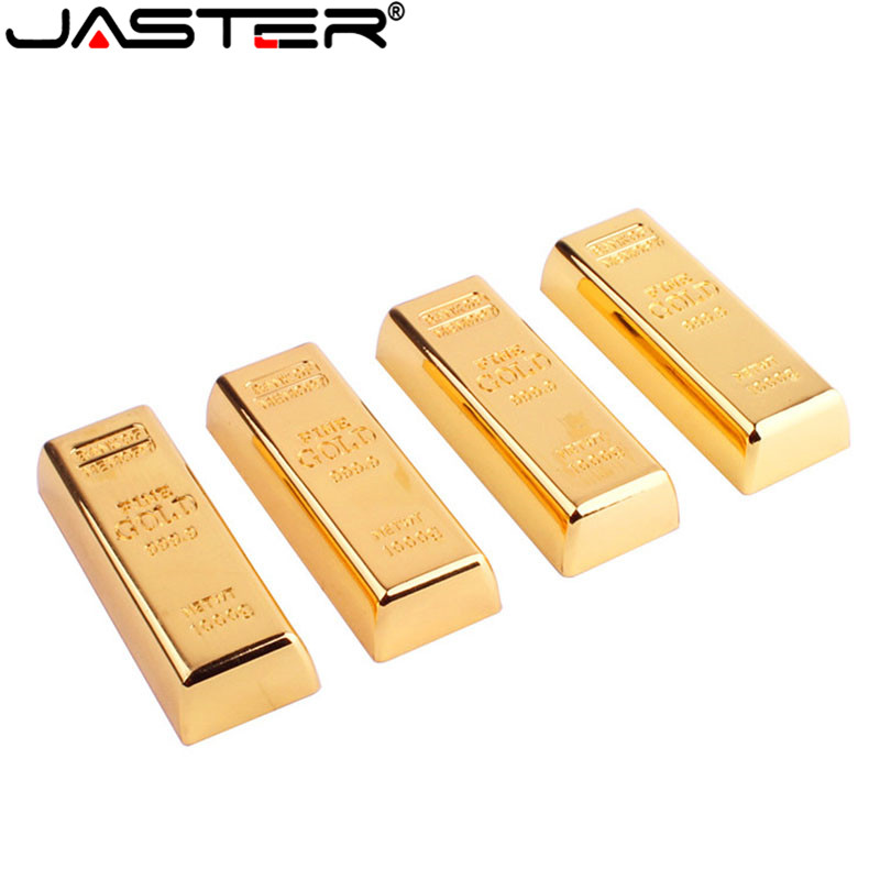 JASTER Gold Bullion Usb Flash Drive Memory Stick Gold Bar Pendrive 4GB 8GB 16GB 32GB 64GB Pen Drive U Disk Gift