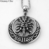 Granny Chic Men S Cool Jewelry Vintage Gothic Silver Stainless Steel Skull Round Pendant Box Necklace