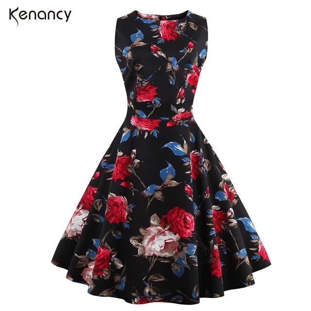 70079683a427 Kenancy 4XL Plus Size 2 Colors Rose Floral Print Vintage Dress Women O-neck  Sleeveless High Waist Midi Vestidos Elegant Dress