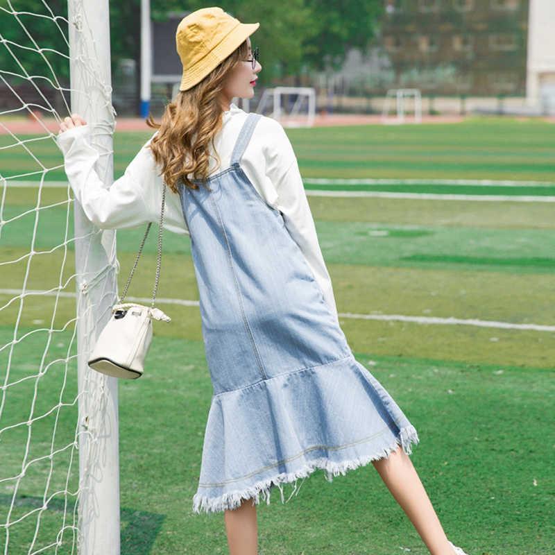 Voobuyla сексуальное пляжное платье без бретелек 2019 женский сарафан джинсовое платье повседневные свободные однотонные джинсовые платья Русалка Vestidos