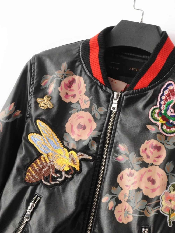 Nueva llegada 2018 Sukajan Souvenir motocicleta PU chaqueta de cuero mujer corta estampado Floral bordado Baseball Varsity chaqueta T489