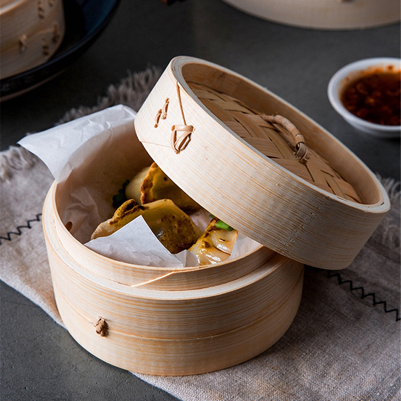 One Cage And One Cover Cooking Bamboo Steamer Fish Rice Vegetable Snack Basket Set Kitchen Cooking Tools,S