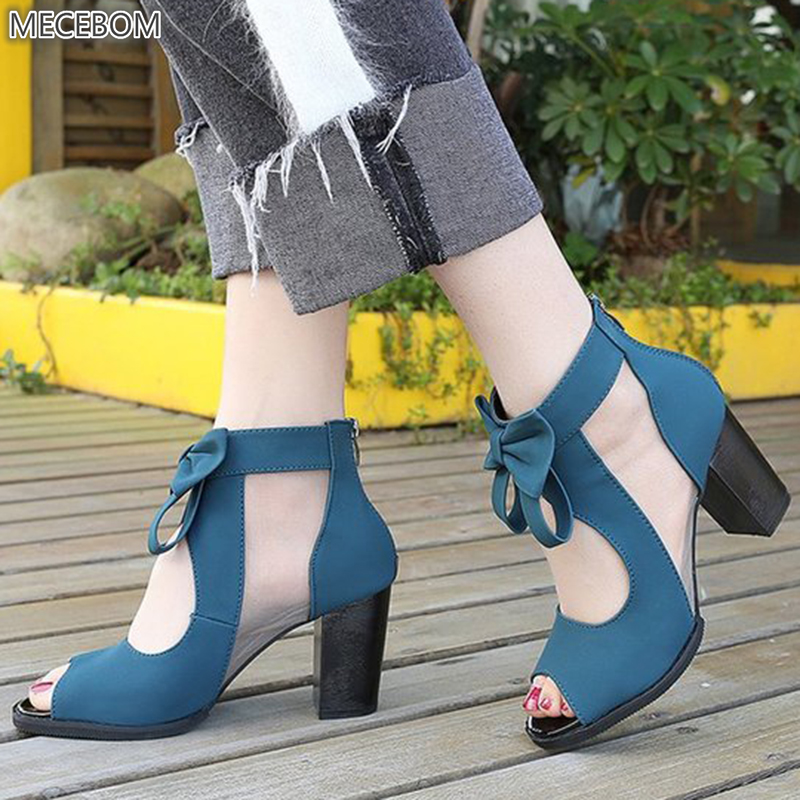 Women Pumps High Thick Black Heels Ladies Shoes Riband Butterfly Knot Zipper Open Toe Casual wedding Party Dress Sandals 0405W 3