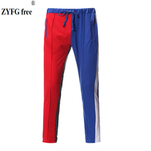 Fashion mens trousers contrast color casual middle waist men sports pants youth vitality fashion male