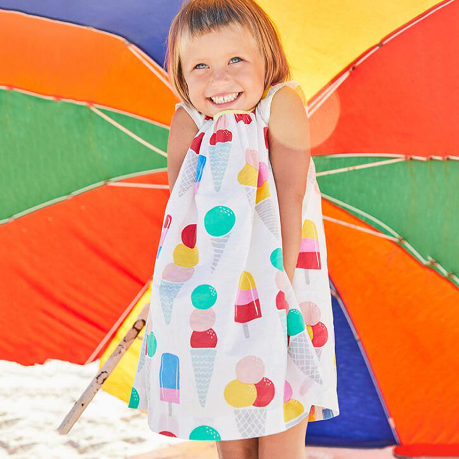 (18m-6t) 6pcs / 1lot Girls Dress 2018 New Summer Mesh Girls Clothes Children Summer Clothes Baby Girls Ice cream printed Dress