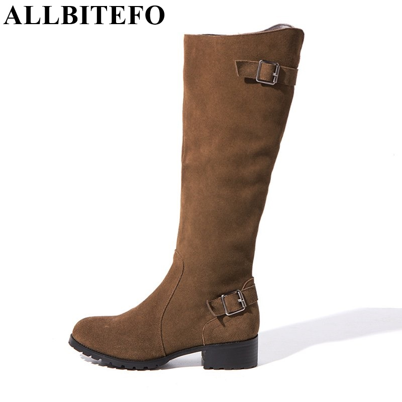 ALLBITEFO New winter warm snow boots genuine leather Low-heeled buckle fashion women boots zip round toe women knee high boots allbitefo golden zip decorate fashion spring winter snow shoes genuine leather pu women boots casual knee high boots size 33 43