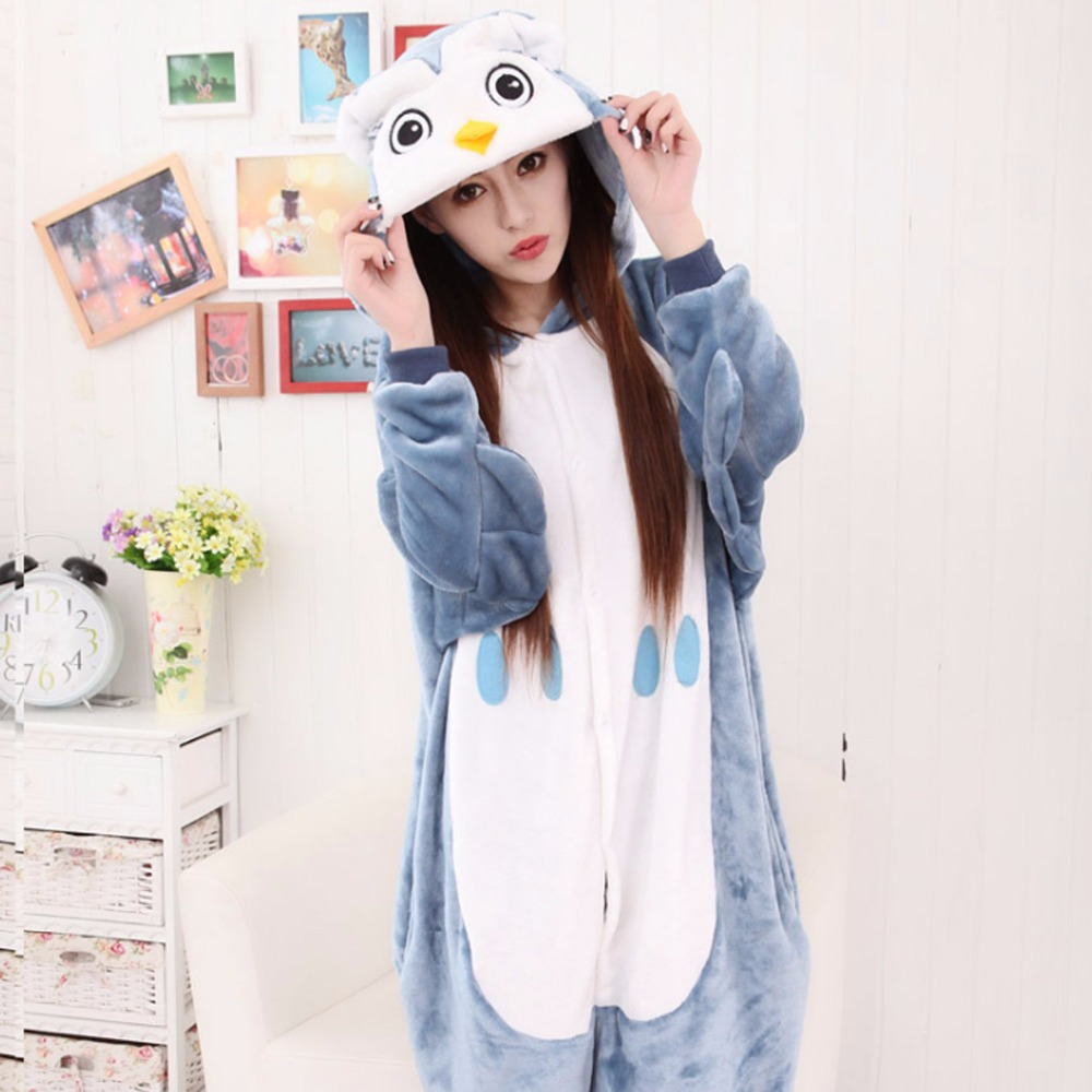 Wholesale Women Kigurumi Owl Animal Sleepwear Cute Cartoon Animal Pajamas Sets Flannel Hooded Nightgown Christmas Party Costumes