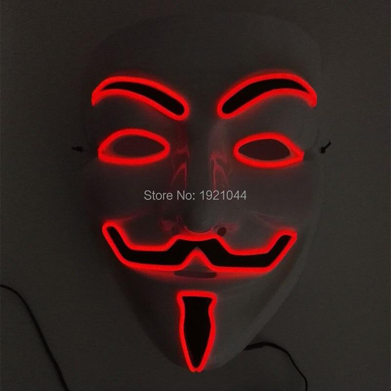 Мода 2017 г. 100 шт. V значит вендетта партии маска мигает EL Провода код 10 видов цветов Выберите для Хеллоуина