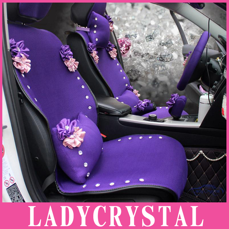 Ladycrystal Custom Bling Diamond Hand Made Cute Car Seat Cover Noble Purple Covers Fit