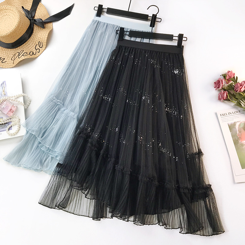 Wasteheart Spring Pink Blue Women Skirt High Waist Pleated Mesh Ankle-Length Skirt Plus Size Empire Casual A-Line Long Skirts