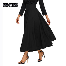 New Arrival Autumn Winter Women Gray Retro High Waist Pleated Belted Maxi Long Skirt S-XXL Blue Wine Red Black Femininas Mujer 2019 new fashion women party skirs retro high waist pleated belted maxi skirt long skirt saias femininas blue red black pink