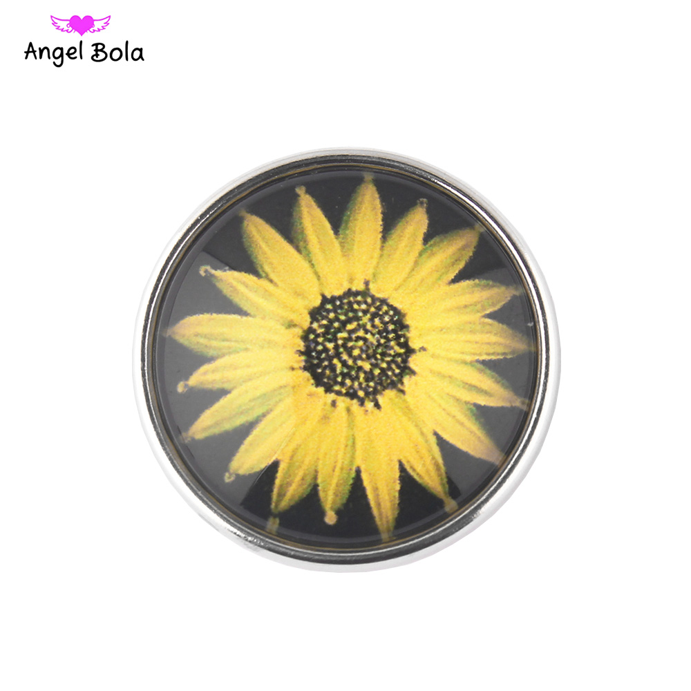 Pryme Interchangeale Snap Charms Sunflower Ginger Snap Buttons Fit 18mm Snap Jewelry SB2349 NK002-23 Free Shipping