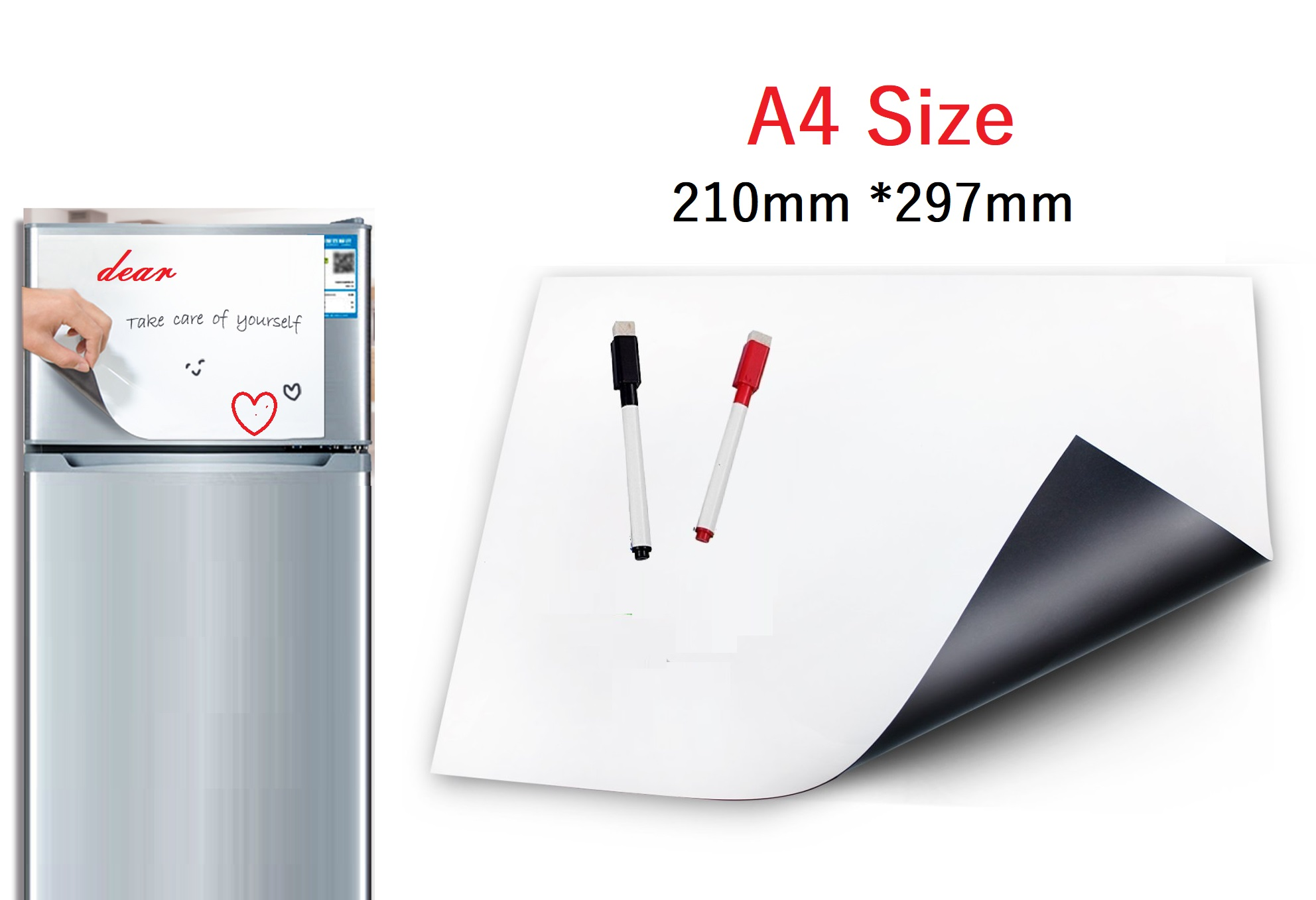 WonYean A4 Size Dry Wipe White Board For Fridge Magnet Magnetic Whiteboard Kitchen Reminder Notepad Message Board 2 Marker Pen