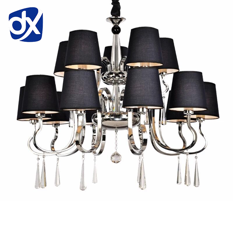 Modern Chandelier Black Fabric Lampshade Chandelier Modern Lighting Living Room Light High Quality Metal PaintModern Chandelier Black Fabric Lampshade Chandelier Modern Lighting Living Room Light High Quality Metal Paint