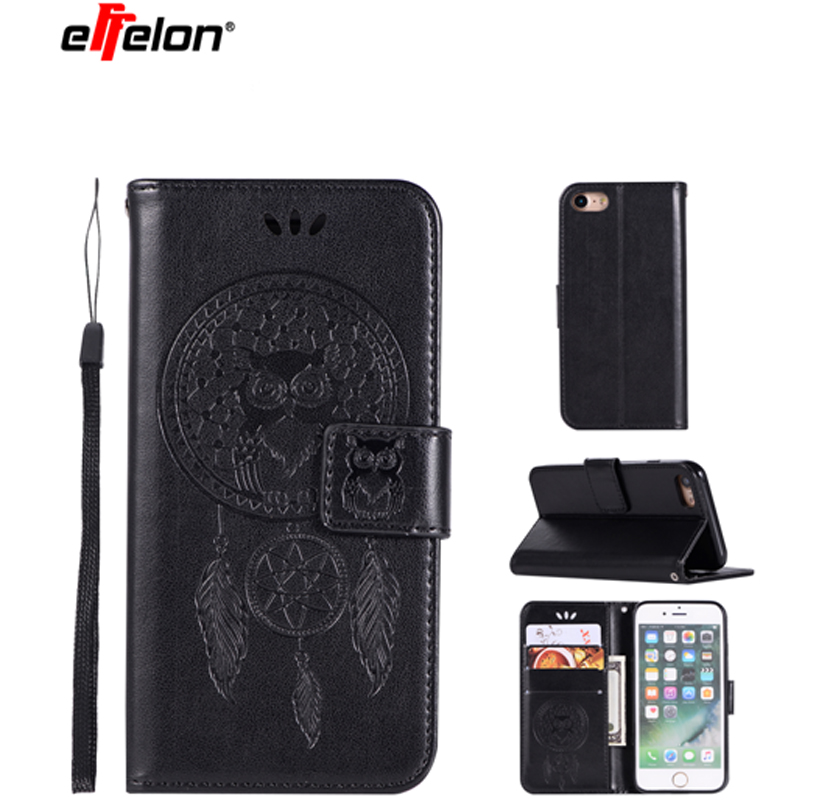New Case For Apple iPhone 6 6S Plus PU Leather Case Stand Function Card Holder Embossed Owl Magnetic Flip Wallet Purse Case