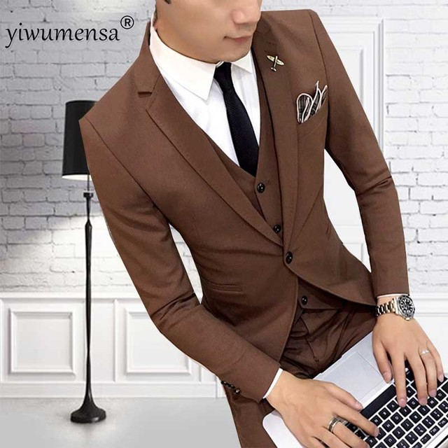 YWMS 20 Brown Men Suits 2018 Slim Fit 3 Pieces Set Wedding Groom ...