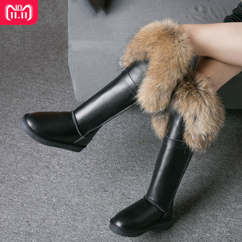 RUIYEE winter boots ladies fox fur knee boots women's boots leather snow boots new high boots 2018 new women's snow boots