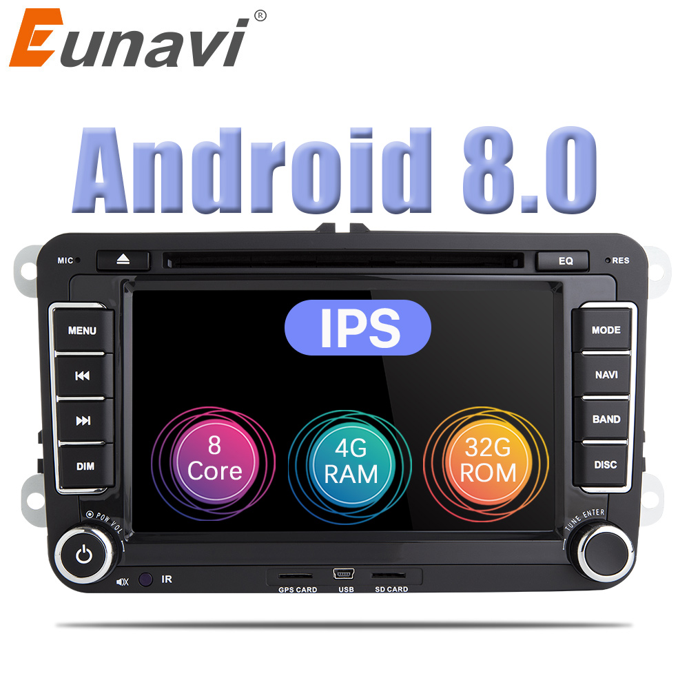 Eunavi 2 Din Android 8.0 Car DVD Player Audio Radio GPS navigation For VW GOLF 6 Polo Bora JETTA B6 PASSAT Tiguan SKODA OCTAVIA ljhang 7 inch 2 din advanced car dvd gps navigation for vw b6 passat jetta touran sagitar golf radio auto audio headunit stereo