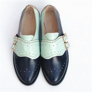 "Image 4 - פרה עור גדול אישה ארה""ב גודל 9 מעצב בציר שטוח נעלי בוהן עגול בעבודת יד שחור לבן אוקספורד נעליים לנשים 2020 אביב"
