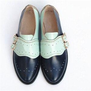 Image 4 - In pelle di mucca grande donna formato DEGLI STATI UNITI 9 del progettista dellannata scarpe basse punta rotonda handmade nero bianco oxford scarpe per le donne 2020 primavera