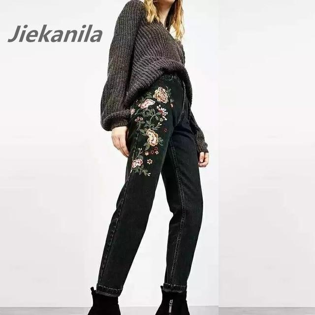 Jiekanila Женщины Черный Джинсовый Цветок Вышивка Джинсы Высокой Талией Узкие Брюки Мода Джинсы Женские Цветочный Вышитые Джинсы
