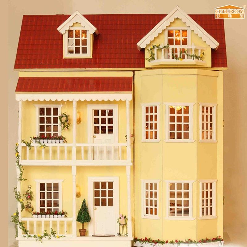 Mobili Casa di Bambola DIY Wodden Miniatura Case di Bambola Mobili Kit DIY Di Puzzle Assemblare Casa Delle Bambole Giocattoli Per I Bambini regalo A010