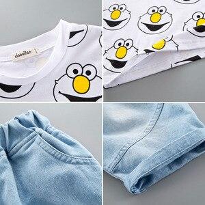 Image 5 - Set di abbigliamento per neonato T Shirt estiva carina cartone animato bambini ragazzi capispalla pantaloncini abito per bambini Outfit Denim Outfit 1 2 3 4 anni