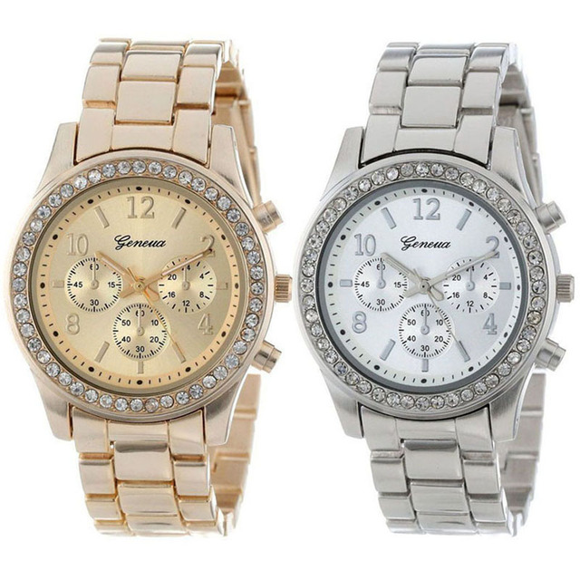 2017 Hot Sale relogio feminino 2 PACK Gofuly Silver and Gold Plated Classic Round Ladies Boyfriend Watch branded women watches