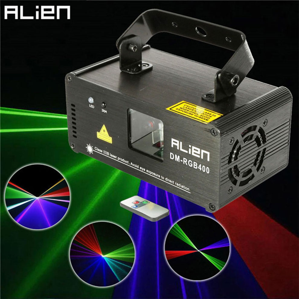 ALIEN Mini Led Rgb Home Stage Lighting Effect DMX Laser Projector With Remote Lumiere Disco Lights