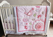 Ups Free Appliqued 3D Pink Birdie Flower Baby kit cradle for babies bumper Bedding set Quilt Sheet Bumper Bed Skirt Included(China)